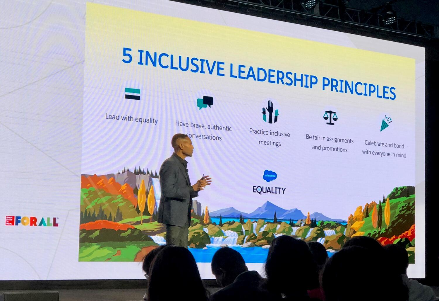 Tony Prophet, Chief Equality Officer of Salesforce delivers the Summit's Closing Keynote
